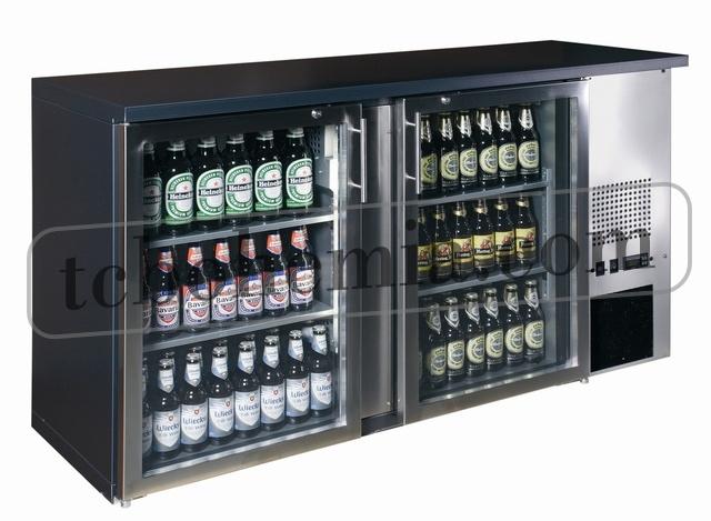 TC-BB-2GDI INOX | Barová chladnička se dvěma skleněnými dveřmi